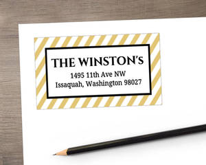 Black And Gold Stripes Address Label