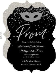 Silver Faux Glitter Masquerade Prom Invitation