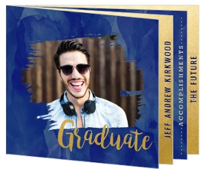 Blue Watercolor & Faux Gold Graduation Announcement