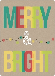 Kraft Paper Multicolor Lights Business Holiday Card