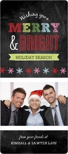 Multicolor Chalkboard Photo Business Holiday Card