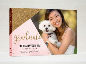 Modern Pink & Faux Gold Glitter Graduation Canvas