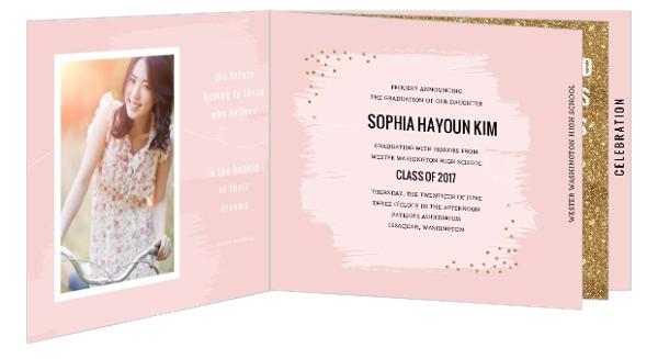 Modern Pink Faux Gold Glitter Graduation Booklet Invitation