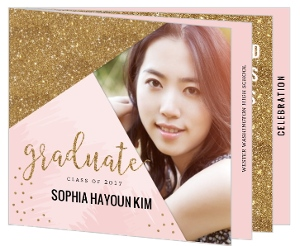 Modern Pink & Faux Gold Glitter Graduation Booklet Invitation