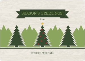 Pine Trees Woodgrain Business Holiday Card