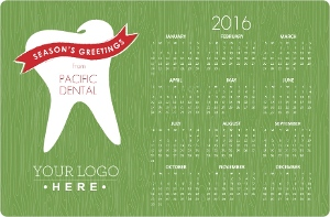 Green Dental Business Calendar Holiday Card