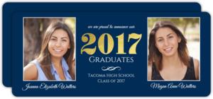 Classic Gold Foil Twin Graduation Party Invitation
