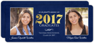 Classic Navy and Gold Foil Twin Graduation Party Invitation