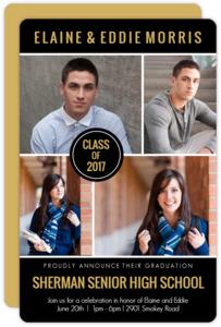 Black Multi Photo Joint Sibling Graduaton Invitation
