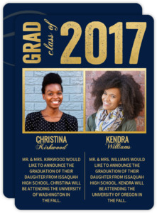 Faux Gold and Navy Joint Graduation Announcement