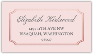Rose Gold Double Frame Address Label