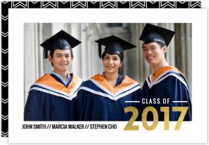 Simple Typography Gold Foil Joint Graduation Annoucement