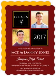 Organized Color Photo Grid Joint Twins Graduation Announcement