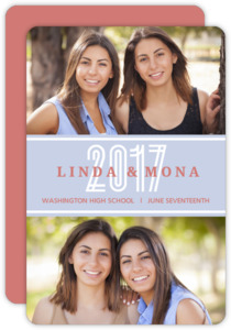 Light Blue Photo Collage Joint Twins Graduation Announcement