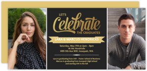 Celebrate Two Grads Joint Graduation Party Invitation
