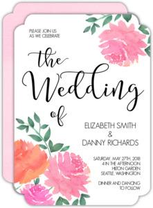 Pink Watercolor Peonies Wedding Invitation