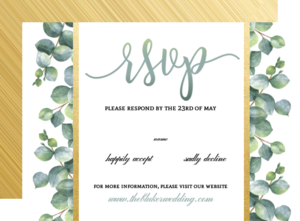 Greenery Watercolor Foliage Wedding Response Card