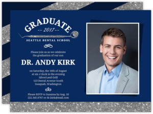Blue & Faux Silver Glitter Dental Graduation Invitation