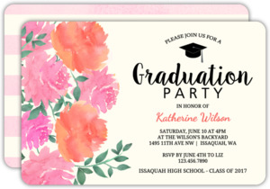 Peony Garden Graduation Party Invitation