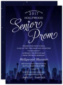 Hollywood City Night Prom Invitation
