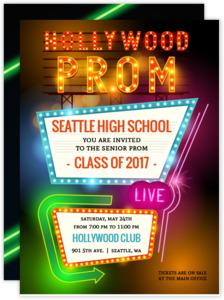 Hollywood Retro Lights Prom Invitation