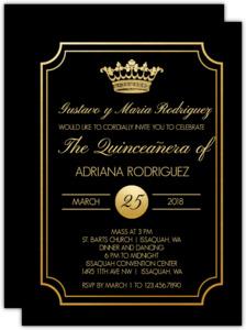 Black & Gold Crown Quinceanera Invitation