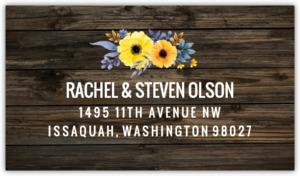 Yellow Watercolor Flower Woodgrain Address Label