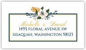 Modern Blue Floral Custom Address Label