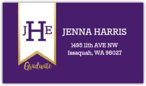 Monogram Banner Graduation Address Label