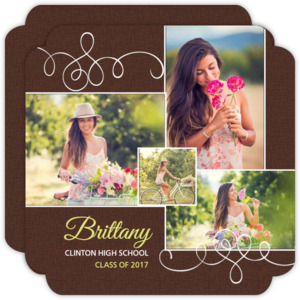 Brown Circle Photo Collage Graduation Announcement