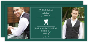 Green and White Tooth Dental Graduation Announcement