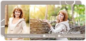 Simple Taupe Flourish Photo Law Graduation Announcement
