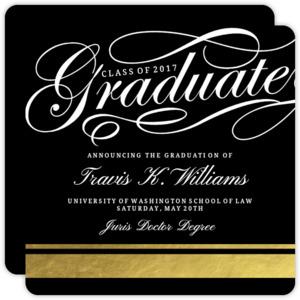 Fancy Graduate Gold Foil Law School Graduation