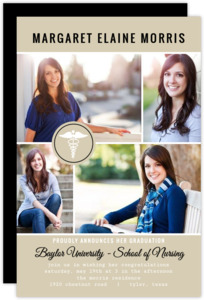Beige Monogram Multi Photo Nursing Graduation Announcement