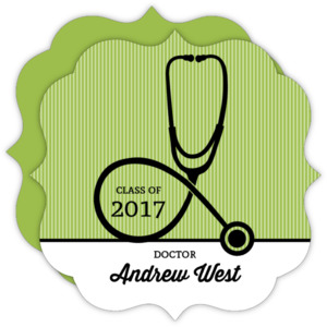 Green Doctor Stethoscope Graduation Announcement