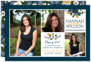 Simple Blue Floral Graduation Announcement