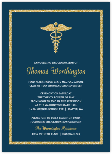 bold gold faux glitter medical school graduation invitation, Quinceanera invitations