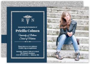 Classic Blue Silver Faux Glitter Nursing School Graduation Invitation