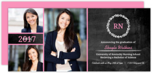 Chalkboard Monogram Nursing School Graduation Invitaiton