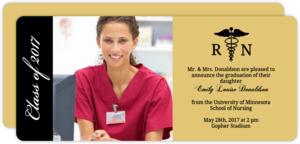 Gold and Black Nursing School Graduation Announcement