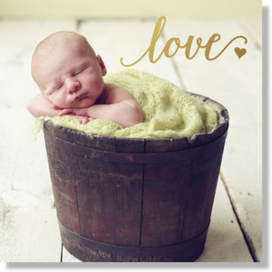 Baby Love Faux Foil Canvas 12x12