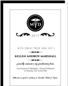 Elegant Black Monogram Med School Grad Announcement