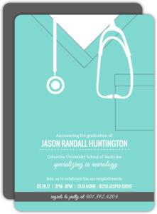 Turquoise Scrubs Medical School Graduation Invitation
