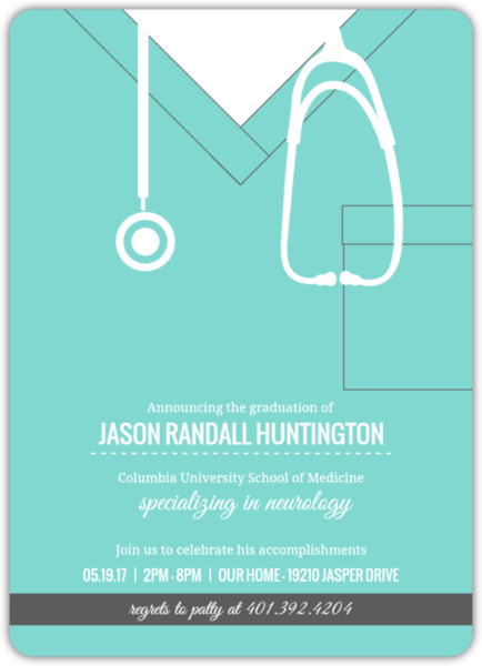 Turquoise Scrubs Medical School Graduation Invitation – Medical School Graduation Invitation