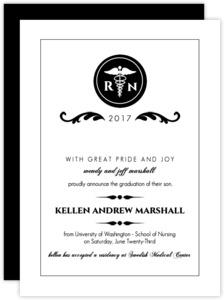 Elegant Black Monogram  Nursing Graduation Announcement