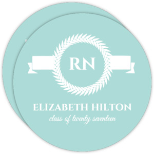 Blue and White Monogram Nursing Grad Invite