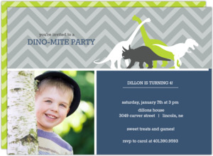 Navy And Gray Dinosaur Kids Birthday Invitation