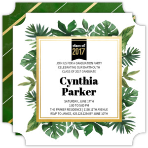 Tropical Greenery Watercolor Graduation Invitation