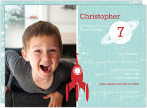 Blast Off Blue And Red Birthday Party Invitation
