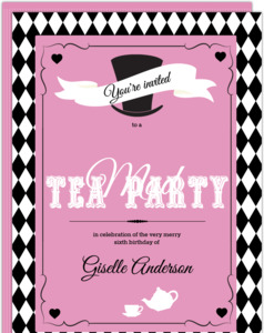 Pink And Black Mad Hatter Birthday Party